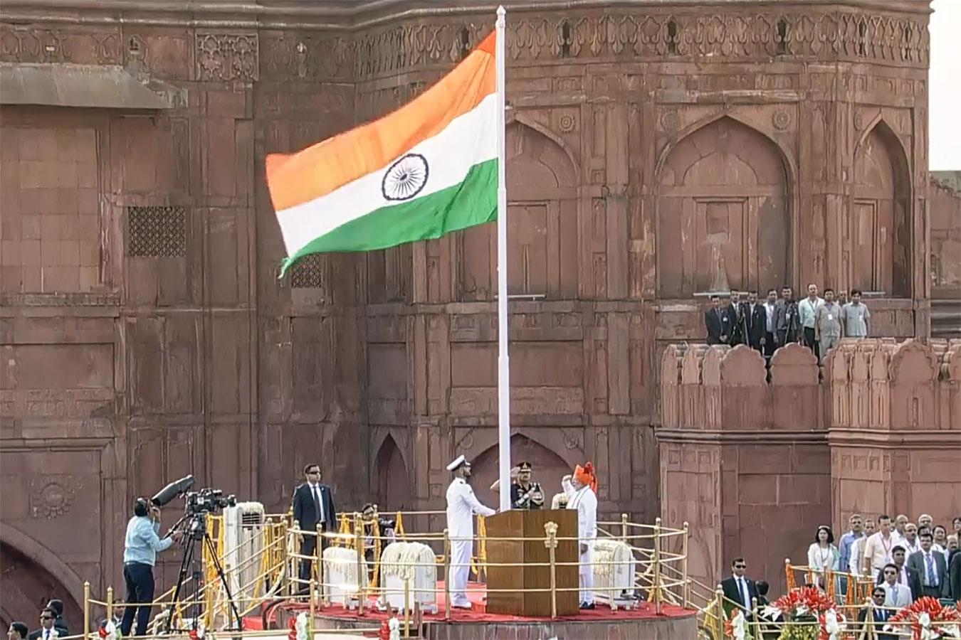 Narendra Damodardas Modi indiai miniszterelnök hagyományos függetlenség napi beszéde Delhiben, a Vörös Erőd sáncáról, 2018.08.15-én<br /><br />Fotó: Doordarshan