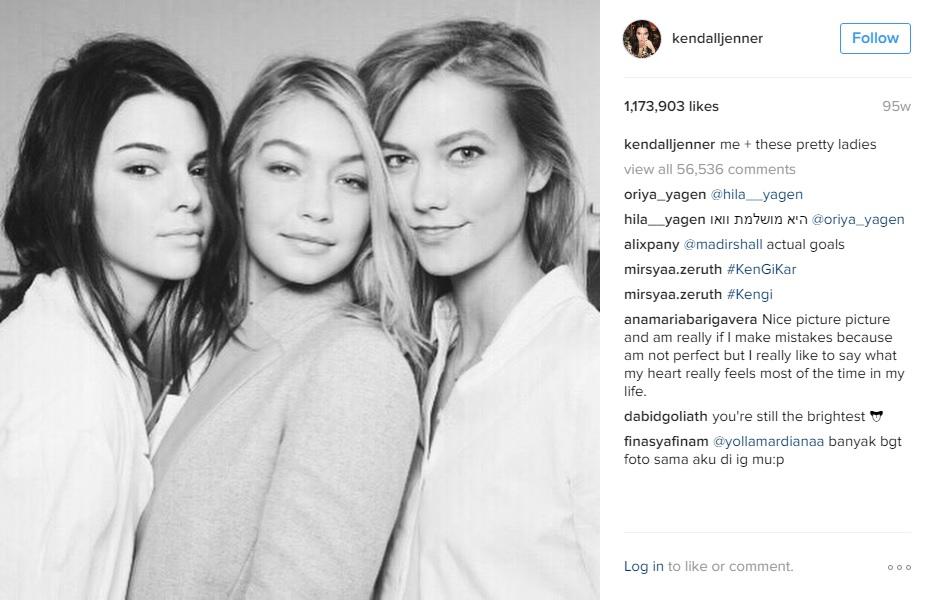 És a végeredmény, forrás: Kendall Jenner Instagram