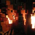 Lámpa fa kockákból