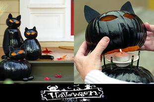 Fekete macska tökből Halloweenre