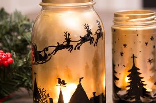 Karácsonyi dekoráció befőttes üvegből