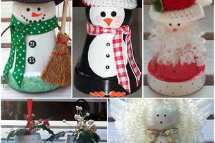 Karácsonyi figurák virágcserépből