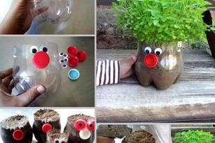 Vicces virágtartó műanyag flakonból