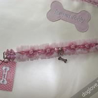 Termékbemutató - Rózsaszín csipkés, gyöngyös nyakörv