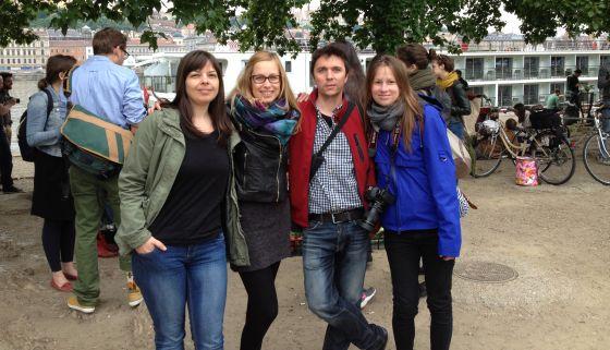 A csapat: Barta Móni, Budavári Dóri, Máté Csaba, Homoky Dorka, Bánlaki Stella pedig lélekben velünk Fotó: Mandiner
