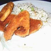 Rántott patisszon újhagymás petrezselymes rizzsel, majonézzel