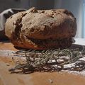 Smiling bread with rosemary and seeds