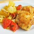 Lecsós újkrumpli sült csirkecombbal