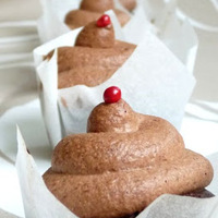 A bohóc: Étcsokoládé-karamell-rózsabors cupcake