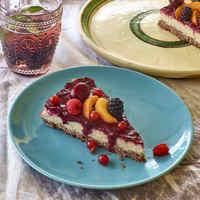 Mentes vegán tejberizs torta gyümölcsréteggel - csupa természetesség