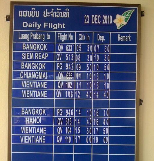 A Laos repülőtér információs kijelzője