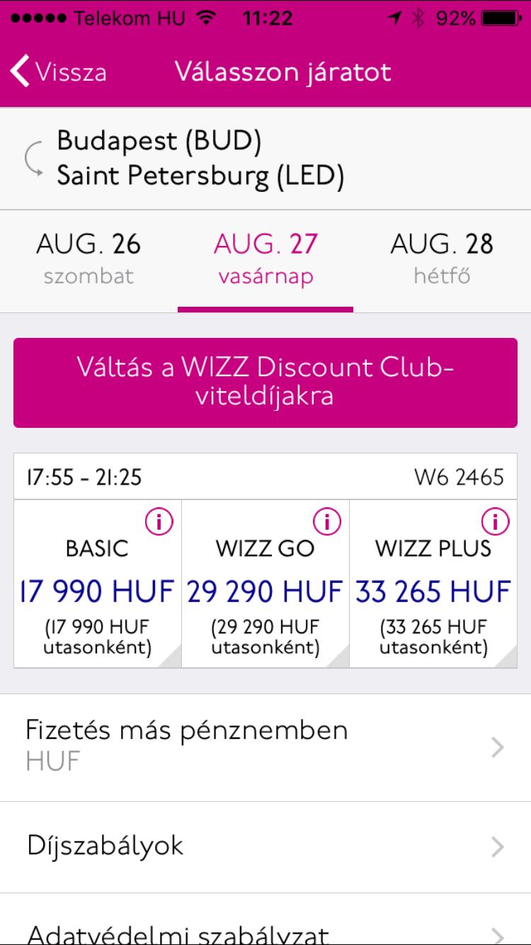 71c50e115a1d A Wizzair Szentpétervárra indít járatot, sajnos csak nyár végétől, az első  gép augusztus 27.-én indul...A foglalási rendszerben már ma reggel fent  volt a ...