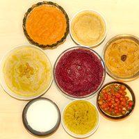 Hummusok: klasszikus, paradicsomos, wasabis, currys, céklás, sütőtökös