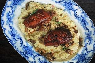 Kacsamell szőlőmagolajban pirítva, magos mustáros krumplipürével és laskagombával | Duck breasts grilled on grape seed oil with grainy mustard mashed potatoes and oyster mushrooms #grapoila #coldpressedoils #food #grapeseedoil