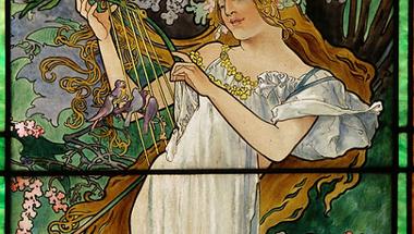 A tavasz színezett üvegen