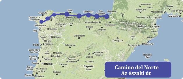 el camino térkép Zarándokutak Santiago de Compostela felé   El Camino kalandok el camino térkép