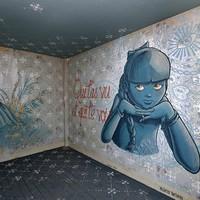 Lerobbant lakóházból művészet