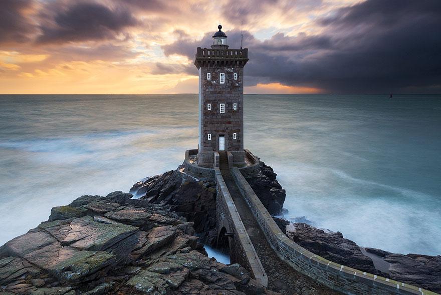 Kermorvan Lighthouse, Bretagne, Franciaország
