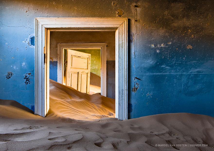 Namíbiai bányászváros elhagyott háza