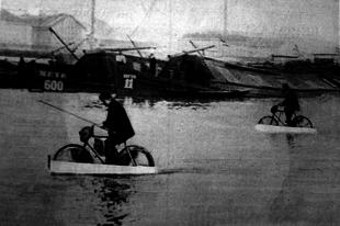 A kétéltű bicikli balesete a hajókötéllel
