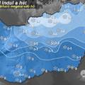 Havazás nehezítheti hétfőn a közlekedést, a fővárosra és Pest megyére is elsőfokú figyelmeztetést adtak ki