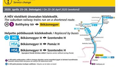 Hétvégén pótlóbuszok járnak a HÉV helyett Békásmegyer és Szentendre között