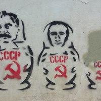 Sztálin és Putyin, mint szovjet matrjoska babák