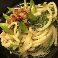 Parmezános, medvehagymás, spenótos spagetti apró pörccel