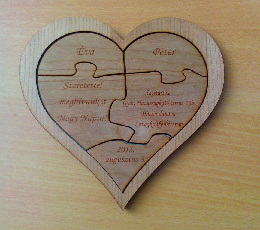 1ea29dddbd Szív puzzle fából mint esküvői meghívó - Esküvői meghívók, ültető,  köszönőajándék