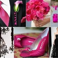 Pink-fekete esküvői színek