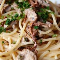 Szűzpecsenyés, rókagombás spagetti