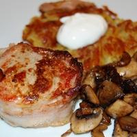 sertésszűz baconben, gombával - avagy a férfi, ha főz