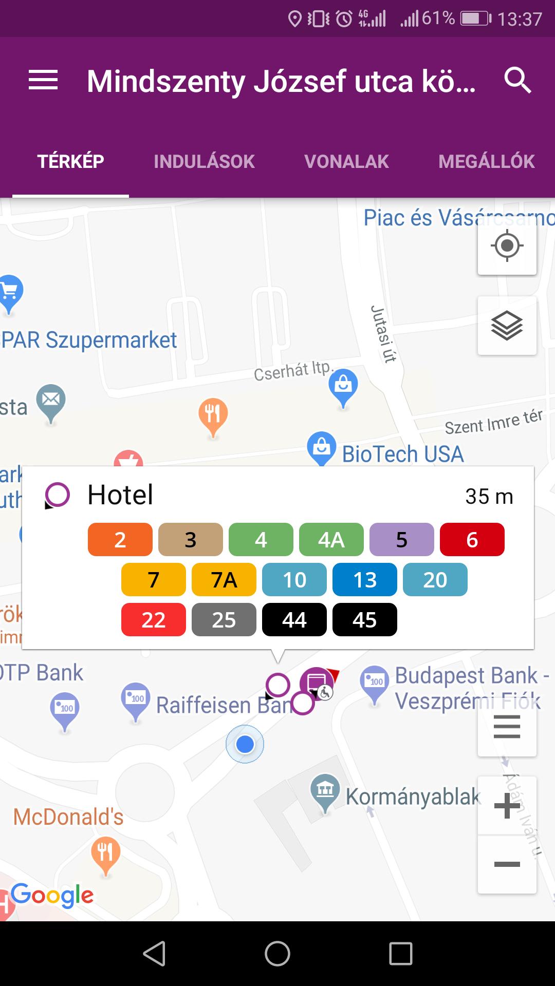 V-busz utas applikáció