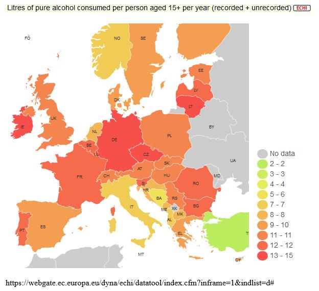 Az egy főre jutó éves fogyasztás tiszta alkoholra vetítve, hivatalos és nem hivatalos fogyasztási adatok együttesen a 15 évnél idősebb lakosság körében<br />Forrás: ECHI (European Core Health Indicators)