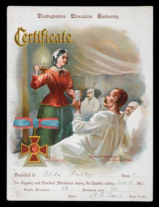 Hilda Foulkes igazolása a nővérképzésről. 1923, Wellcome Collection, UK, CC BY; A Vörös Kereszt ápolói. Gustav Borgen, 1895. Oslo múzeum, Norvégia, CC BY-SA