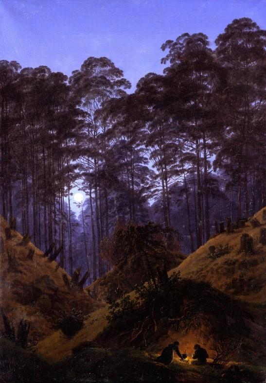 Az erdő mélyén hodfénynél (Waldinneres bei Mondschein), Caspar David Friedrich, 1823-1830, Staatliche Museen zu Berlin, Nationalgalerie, Germany, CC BY-NC-SA (forrás: Europeana)