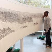 Fiatal Autista Művész NY Látképe 20 perc repülés után