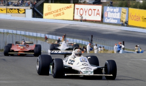 Alan Jones in the Williams FW07B finished 1st, with Carlos Reutemann placing 2nd at the 1980 United States GP East-herowide.jpg