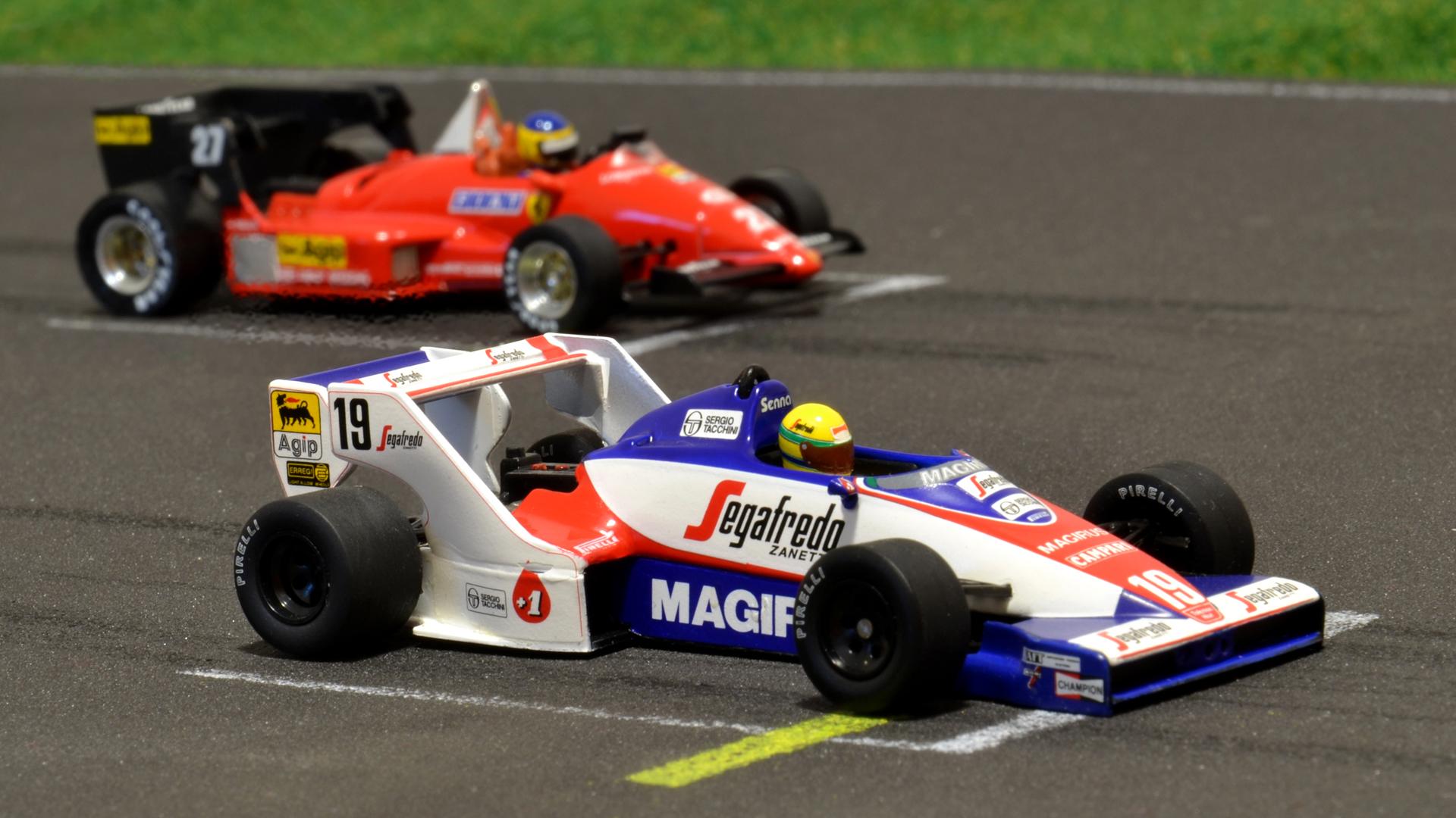 Toleman TG183B háttérben pedig egy Ferrari 126C4<br />