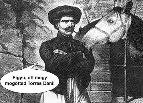 a képen Rózsa Sándor (épp) a lovát ugratja.