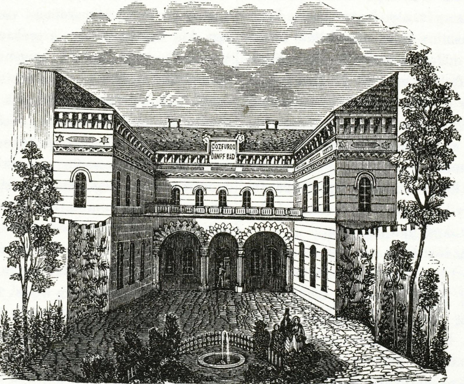 Az Első Magyar Gőzfürdő Kazinczy utcai főbejárata és díszudvara. (Forrás: Kubinyi Ferenc - Vahot Imre: Magyarország és Erdély képekben, Pest, 1853.)