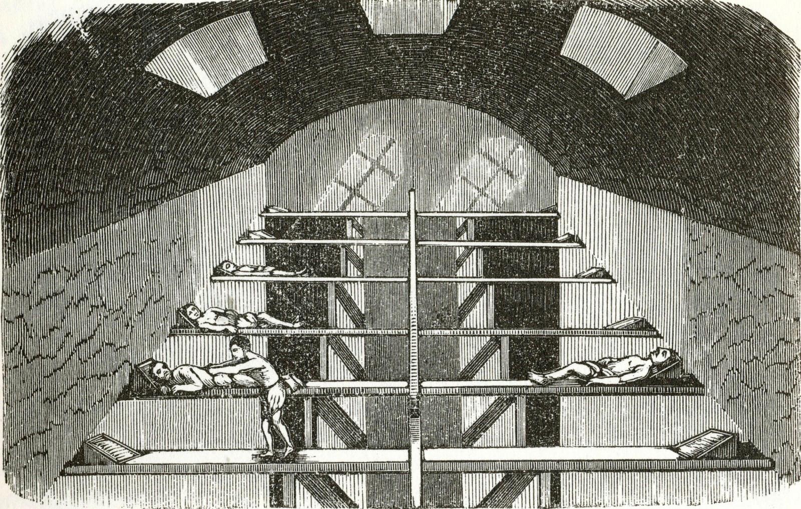 A férfi izzasztóterem fekvőpadjai. (Forrás: Kubinyi Ferenc - Vahot Imre: Magyarország és Erdély képekben, Pest, 1853.)