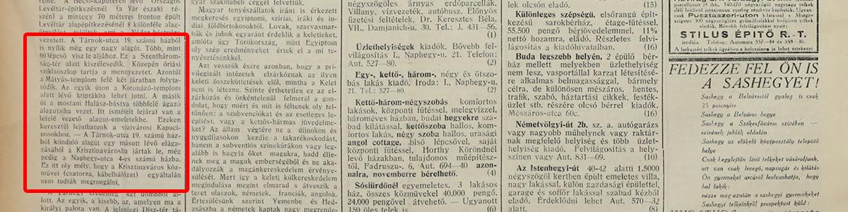 A középkori alagút létezéséről elsőként hírt adó Budai Napló (1931.09.14.)