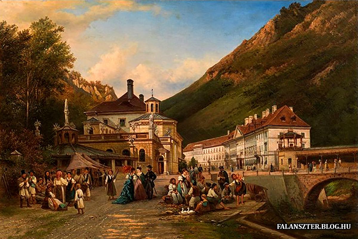 Az Erzsébet-fürdő átadása után nem sokkal, ahogy azt Pieter van Bommel holland festő látta. (Forrás: Falanszter.blog.hu)