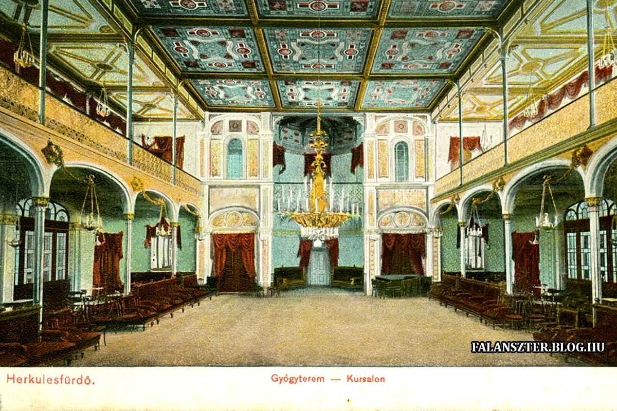 Kazettás mennyezete és a belső terek kialaklítása hasonlóságot mutatt a pesti Vigadóval. (Forrás: Falanszter.blog.hu)