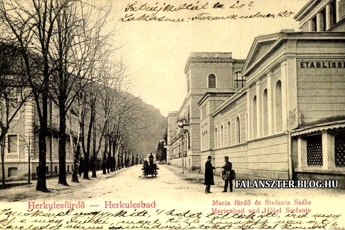 Jobbra a Mária-fürdő, balra a Stefánia-szálló (Falanszter.blog.hu)