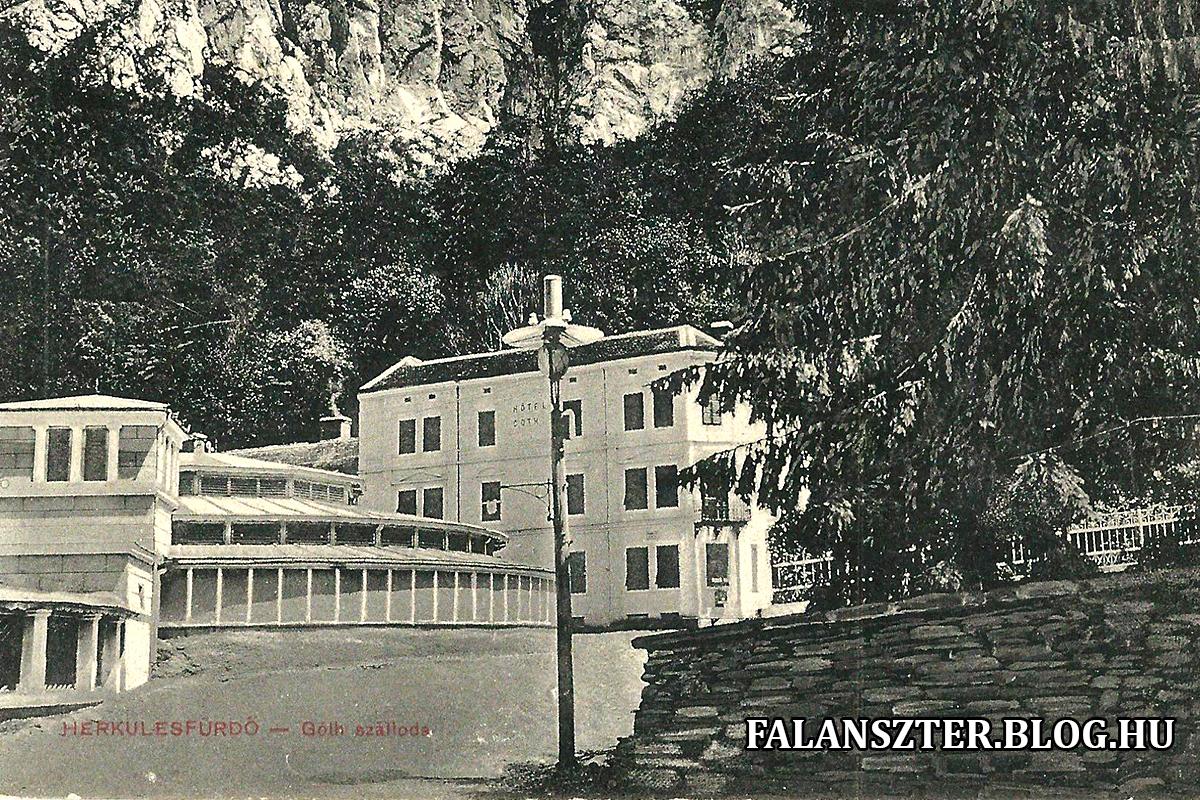 A ma már társasházként működő Góth-szálló, előtte a félköríves végződésú Mária-fürdő (Forrás: Falanszter.blog.hu)