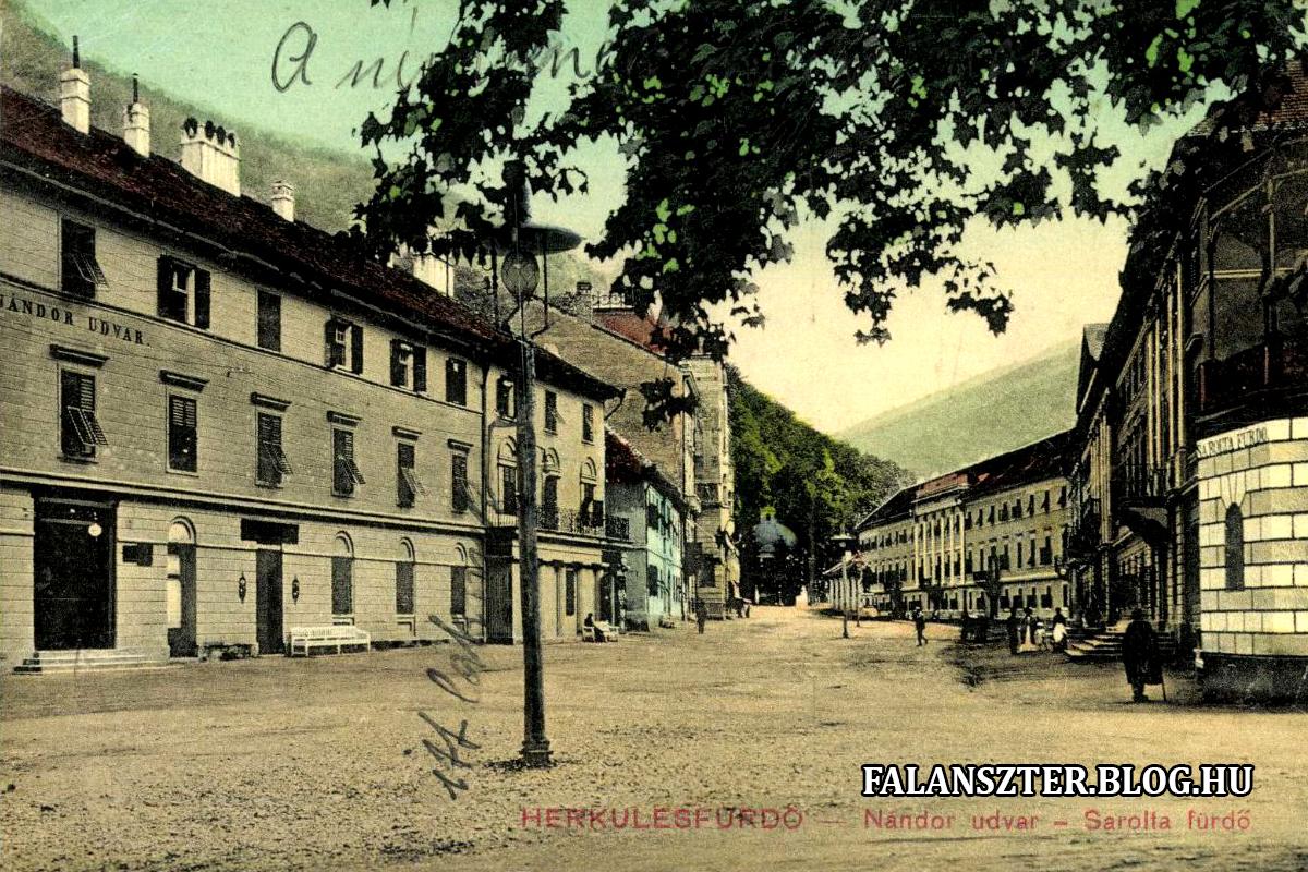 Balra a Nándor-udvar, a későbbi Ferenc-szálló, középen a Herkules tér, jobboldalt a Sarolta-fürdő (Forrás: Falanszter.blog.hu)