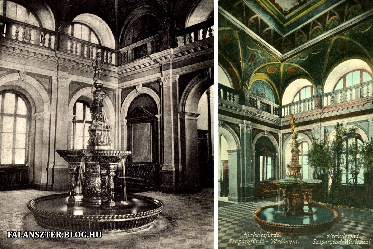 Az aula híres Zsolnay-díszkútja. Ennek a másolata látható a budapesti József nádor téren. (Forrás: Falanszter.blog.hu)