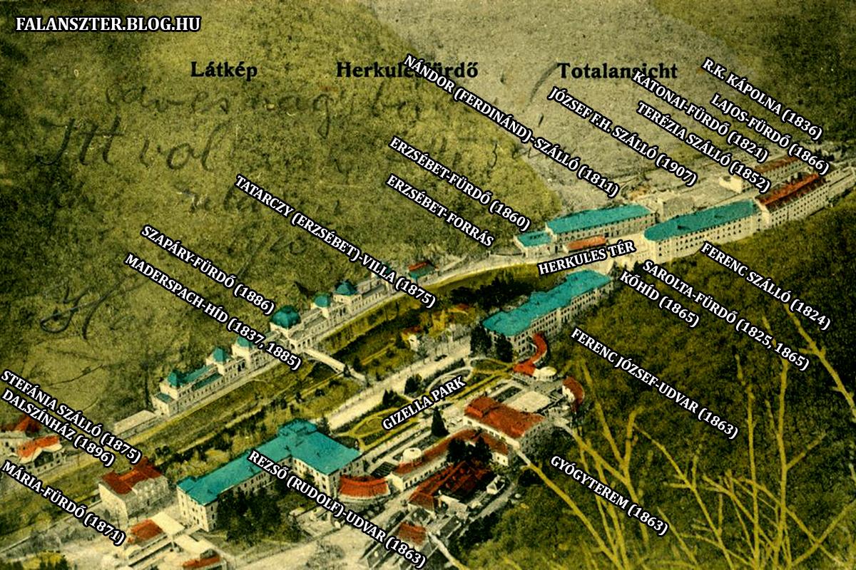Herkulesfürdő Óvárosának és Belvárosának fontosabb épületei (Grafika: Falanszter.blog.hu)